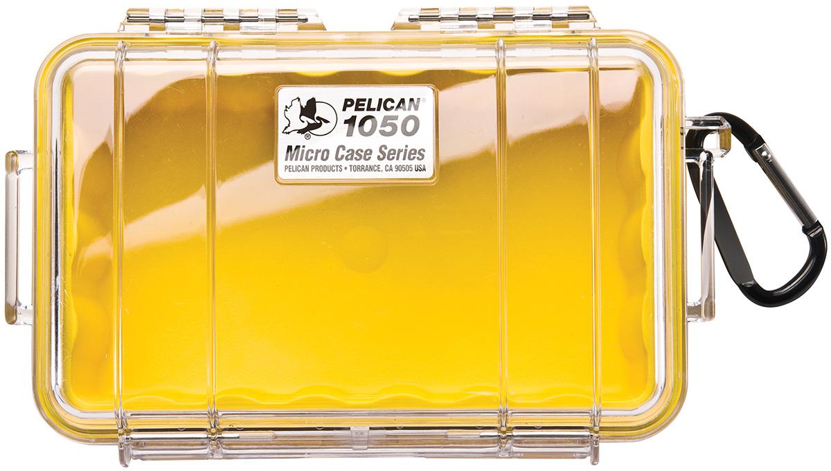 pelican peli products 1050 watertight hard yellow micro box