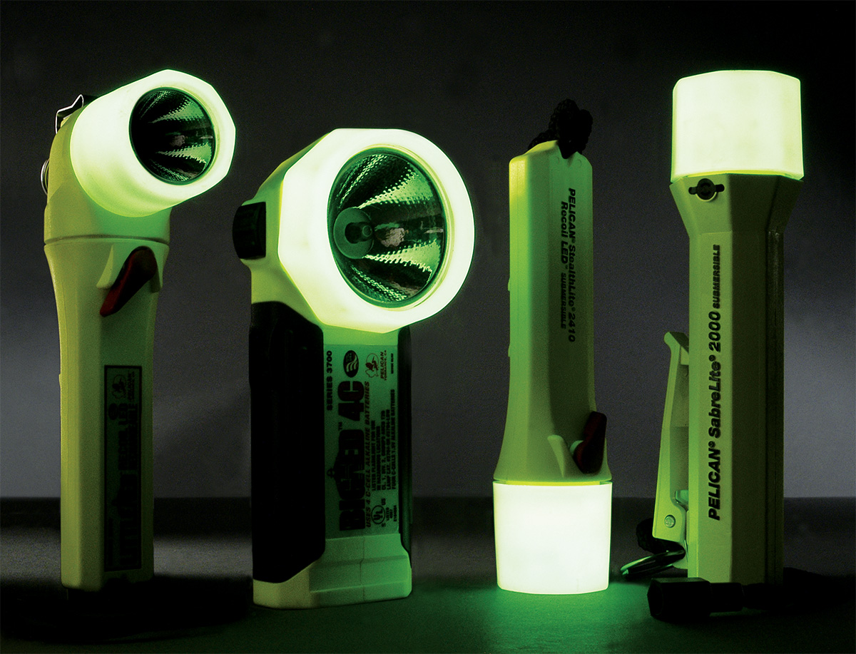 pelican peli products usa made glow dark safety flashlights