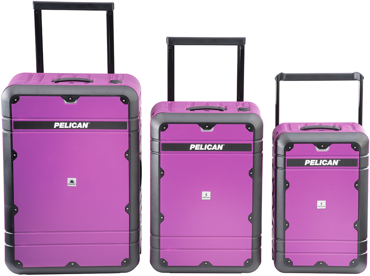 pelican peli products pink carry on rolling wheeled luggage airplane tsa