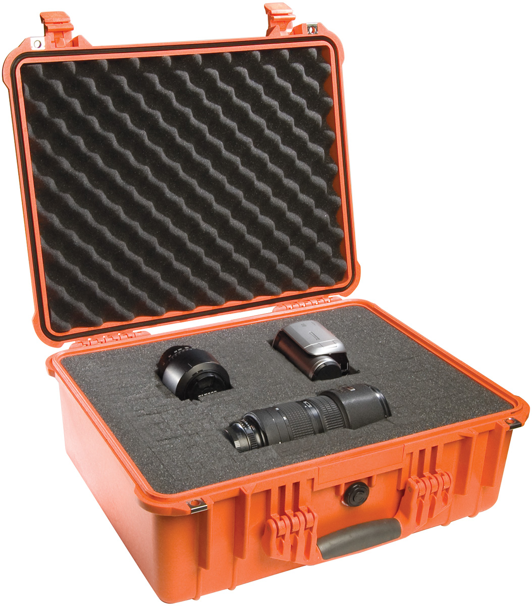 pelican peli products 1550 orange hard waterproof camera case