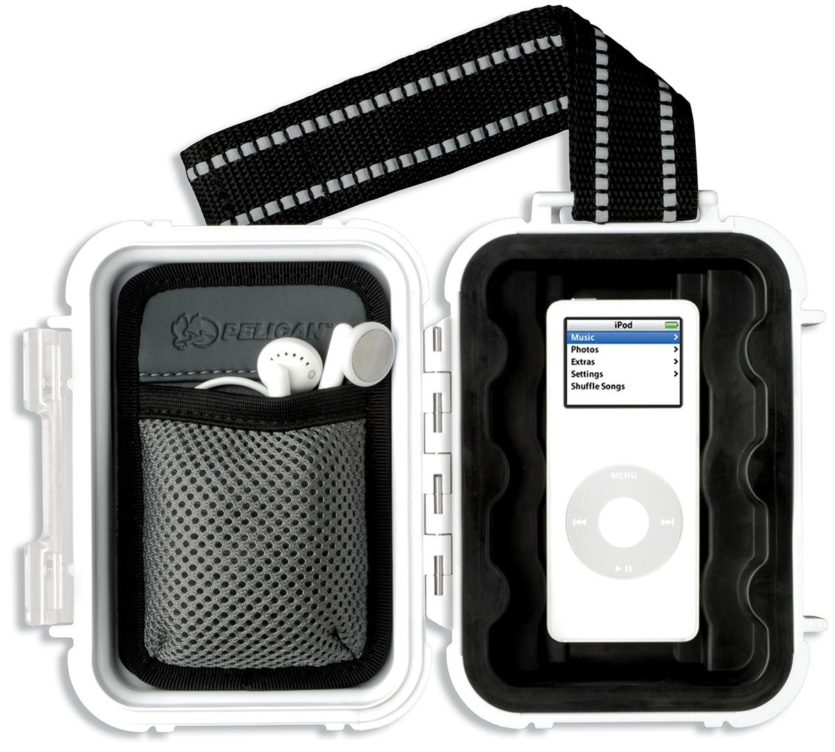 pelican peli products i1010 white ipod nano waterproof case
