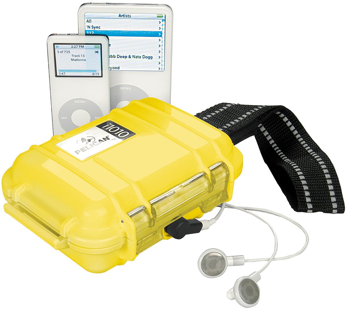pelican peli products i1010 yellow ipod watertight hard case